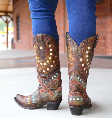 Corral Green Studs Embroidery Crystals Boots C3395 Heel