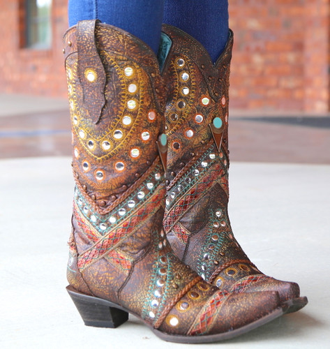 Corral Green Studs Embroidery Crystals Boots C3395 Picture