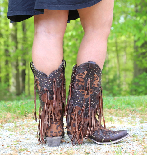 Corral Honey Goat Overlay Studs Fringe Boots A3618 Heel