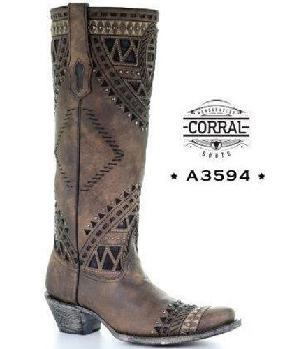 Corral Brown Inlay Studs Tall Top Boots A3594 Image