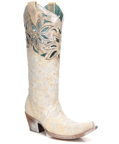 Corral Beige Silver Embroidery Floral Cut Out and Studs Boots C3346 Picture