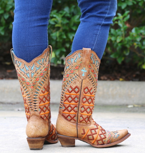 Corral Straw Inlay Embroidery Studs Boots C3284 Heel