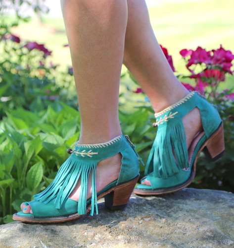 Junk Gypsy by Lane Archer Turquoise Fringe Booties JG0018E Picture