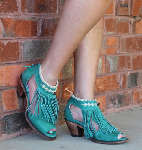 Junk Gypsy by Lane Archer Turquoise Fringe Booties JG0018E Image