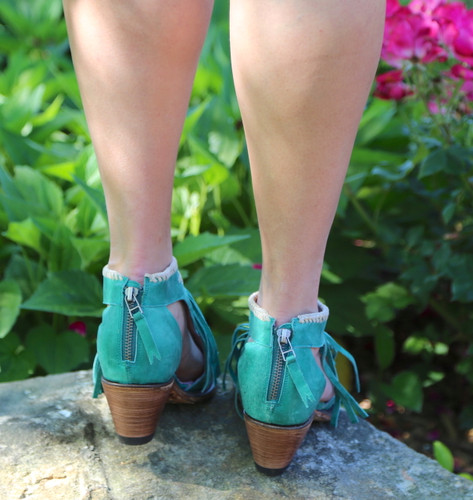 Junk Gypsy by Lane Archer Turquoise Fringe Booties JG0018E Zippers
