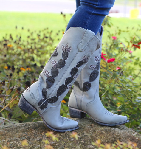 Junk Gypsy by Lane Hard To Handle Grey Cactus Boots JG0012D Side