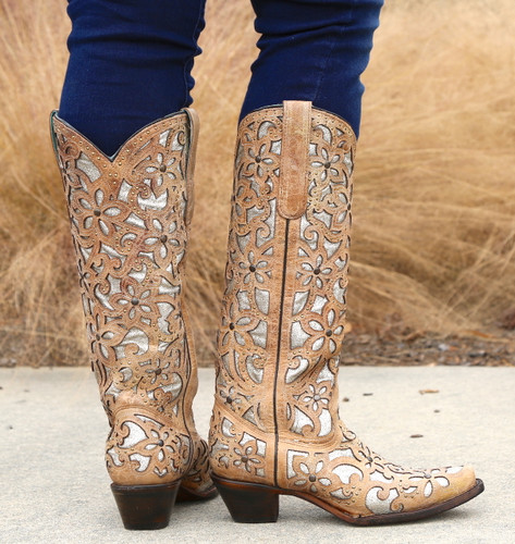 Corral Sand Inlay Embroidery Studs Tall Top Boots A3673 Heel