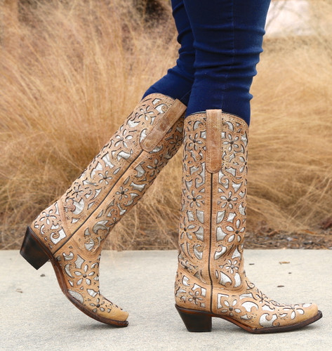 Corral Sand Inlay Embroidery Studs Tall Top Boots A3673 Walk