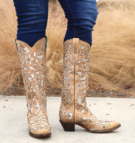 Corral Sand Inlay Embroidery Studs Tall Top Boots A3673 Image