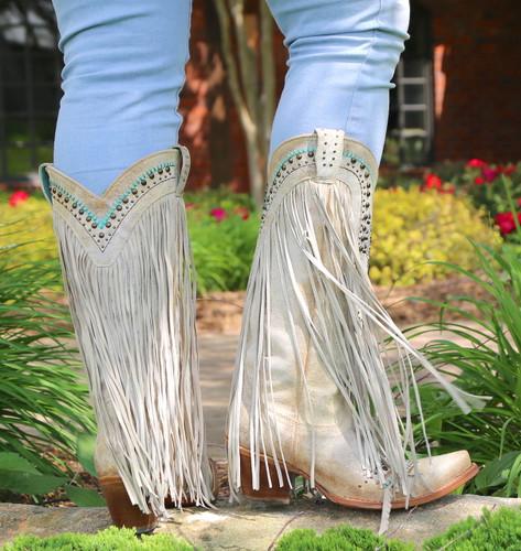 Corral Bone Swarovski Pattern Fringe Boots C3424 Heel