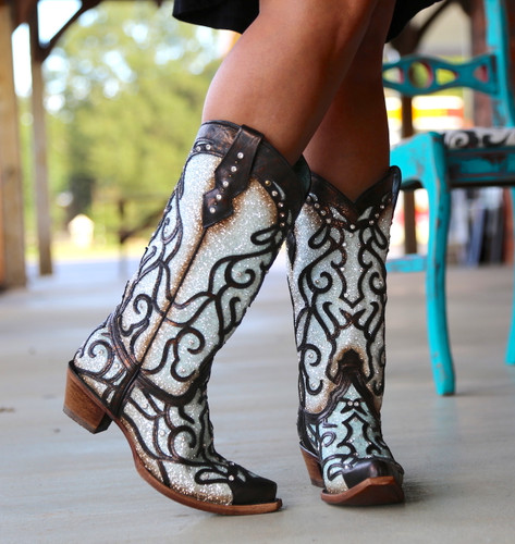Corral Sky Blue Glitter and Studs Boots C3460 Toe