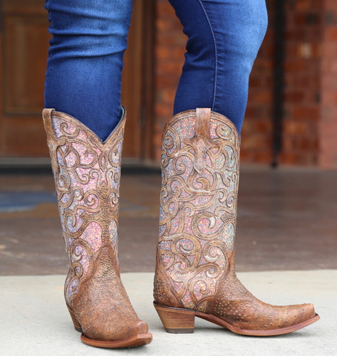 Corral Cognac Purple Glitter Inlay Studs Boots C3467 Image