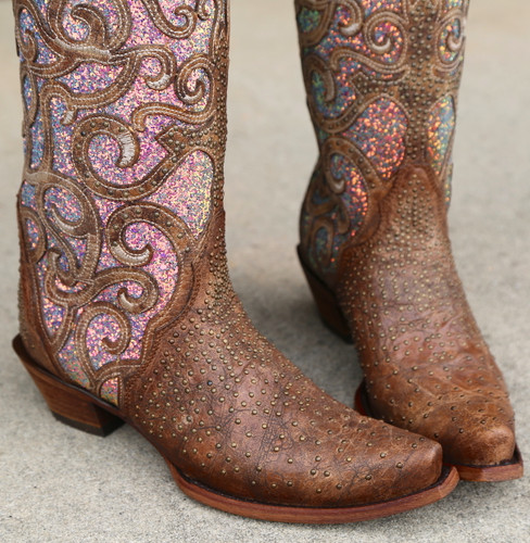 Corral Cognac Purple Glitter Inlay Studs Boots C3467 Toe