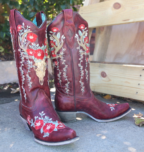 Corral Red Deer Skull and Floral Embroidery Boots A3712 Image