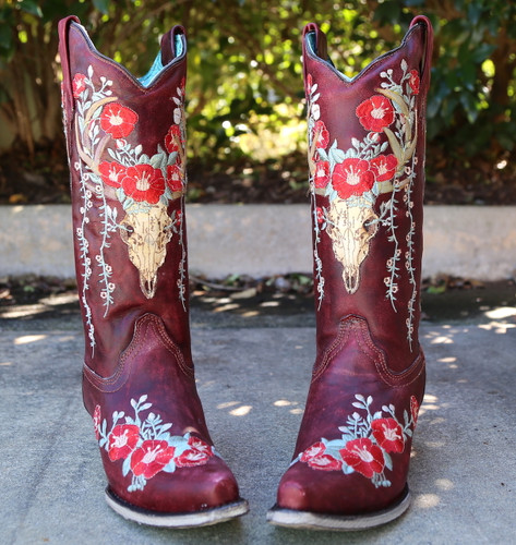 Corral Red Deer Skull and Floral Embroidery Boots A3712 Front