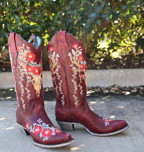 Corral Red Deer Skull and Floral Embroidery Boots A3712 Side