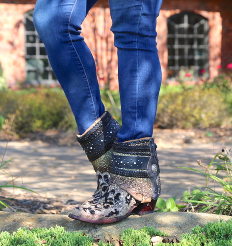 Corral Brown Glitter Flipped Shaft Ankle Boot A3691 Image