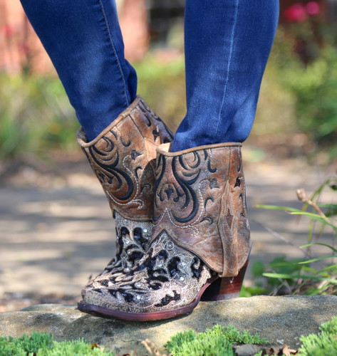 Corral Brown Glitter Flipped Shaft Ankle Boot A3691 No Top Picture