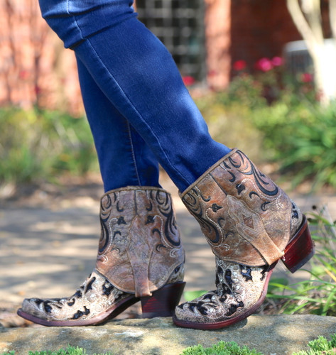 Corral Brown Glitter Flipped Shaft Ankle Boot A3691 No Top Image
