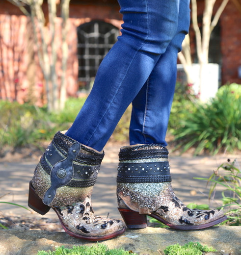 Corral Brown Glitter Flipped Shaft Ankle Boot A3691 Photo