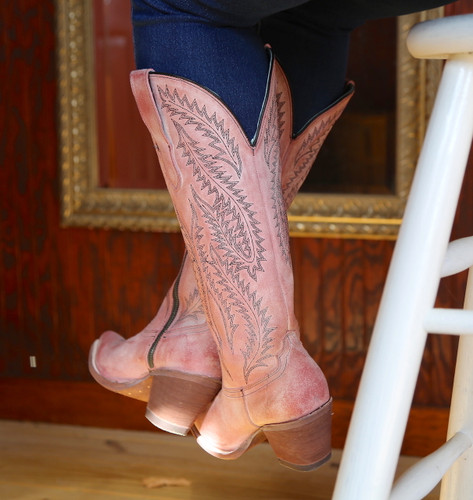Corral Rose Embroidery Tall Top Boots E1447 Heel