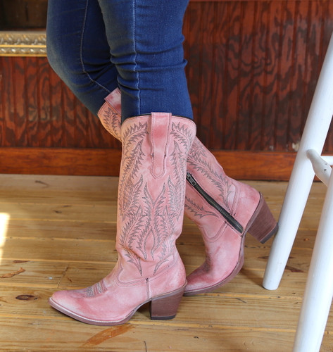 Corral Rose Embroidery Tall Top Boots E1447 Photo