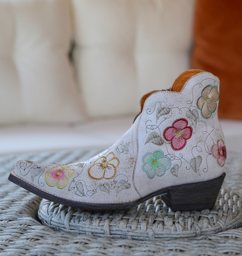 Old Gringo Pansy White Crackle Boot SHL2980-5 Embroidery