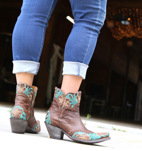 Old Gringo Erin Short Brass Turquoise Boots BL3084-1 Heel