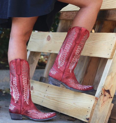 Old Gringo Eagle Crystal Red Boots L443-16 Back