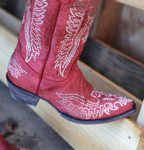 Old Gringo Eagle Crystal Red Boots L443-16 Toe