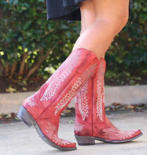 Old Gringo Eagle Crystal Red Boots L443-16 Walk