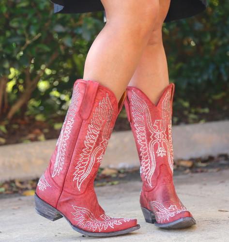 Old Gringo Eagle Crystal Red Boots L443-16 Side