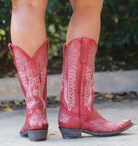 Old Gringo Eagle Crystal Red Boots L443-16 Heel