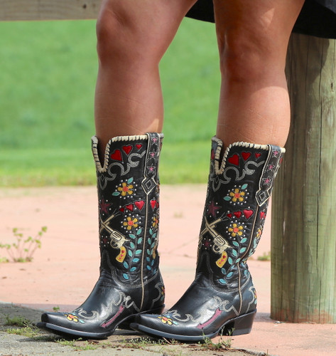 Double D by Old Gringo Cowgirl Bandit Black Boots DDL041-1 Photo