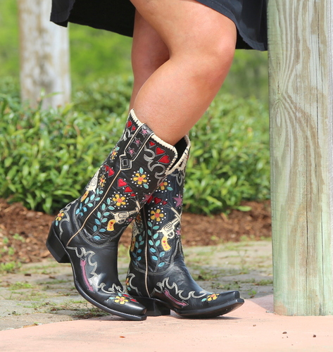 Double D by Old Gringo Cowgirl Bandit Black Boots DDL041-1 Picture