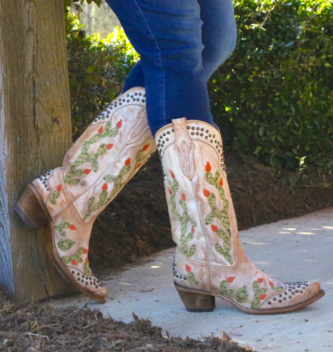 Corral Saddle Nopal Cactus Embroidery and Studs Boots C3463 Picture