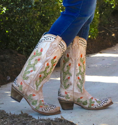 Corral Saddle Nopal Cactus Embroidery and Studs Boots C3463 Walk