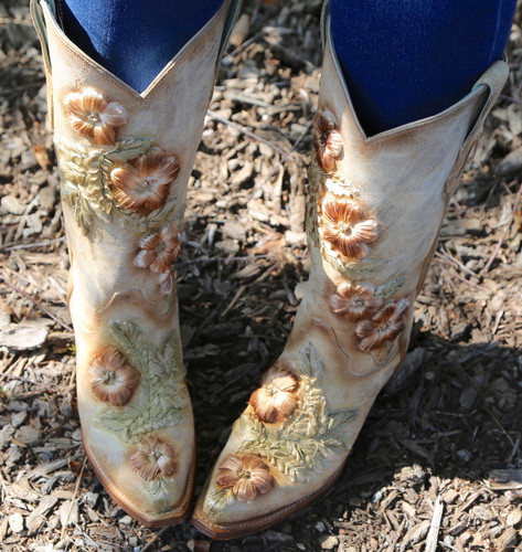 Corral Bone Hand Painted and Floral Woven Boots C3444 Top