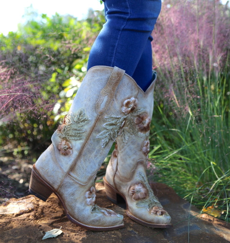 Corral Bone Hand Painted and Floral Woven Boots C3444 Photo