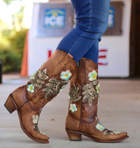 Corral Tobacco Hand Painted and Floral Woven Boots C3443 Walk