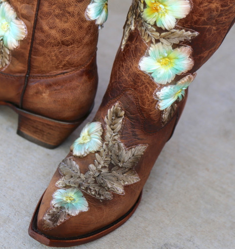 Corral Tobacco Hand Painted and Floral Woven Boots C3443 Ribbon