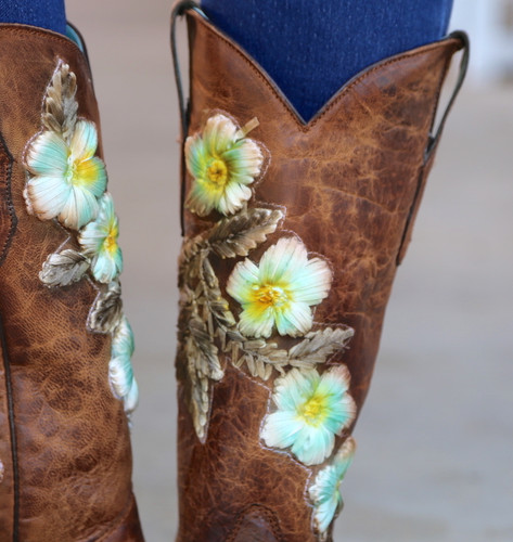 Corral Tobacco Hand Painted and Floral Woven Boots C3443 Detail