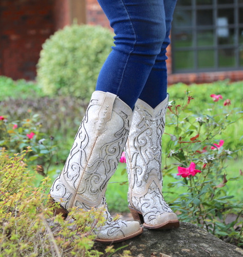 Corral White Glitter Inlay and Crystals Boots C3434 Photo
