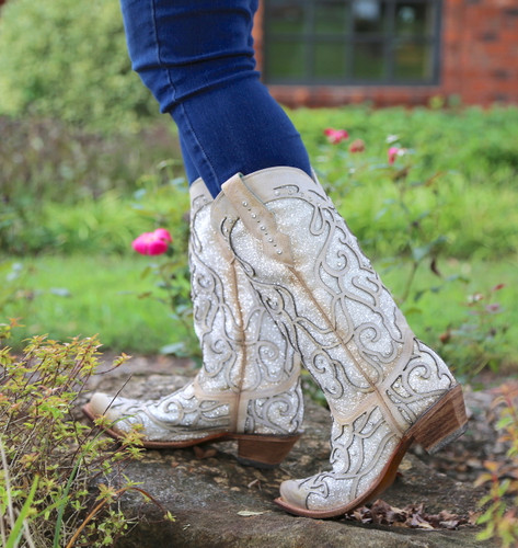 Corral White Glitter Inlay and Crystals Boots C3434 Image
