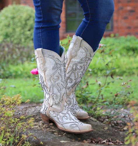 Corral White Glitter Inlay and Crystals Boots C3434 Detail