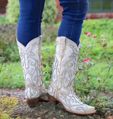 Corral White Glitter Inlay and Crystals Boots C3434 Heel