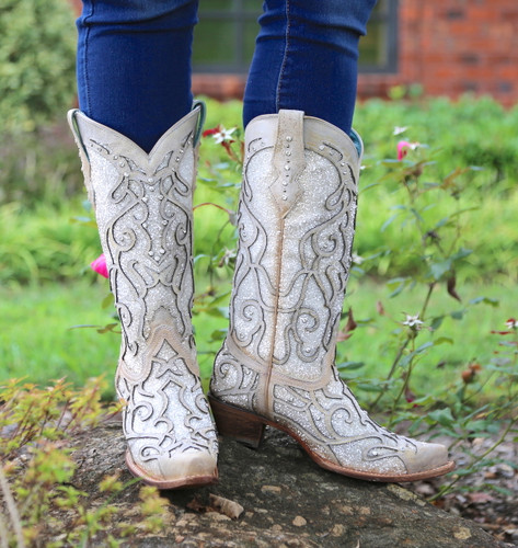 Corral White Glitter Inlay and Crystals Boots C3434 Front