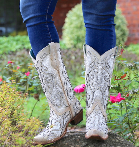 Corral White Glitter Inlay and Crystals Boots C3434 Toe