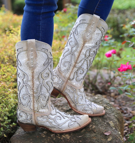 Corral White Glitter Inlay and Crystals Boots C3434 Picture