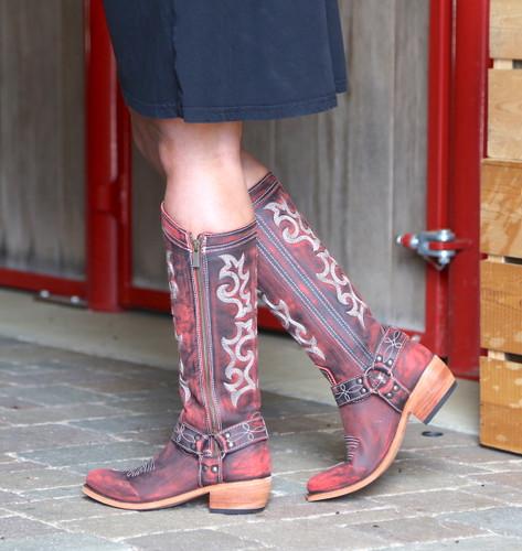 Liberty Black Biker Vintage Rojo Boots LB711135 Photo